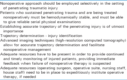 Table 4: Important considerations when treating penetrating trauma nonoperatively