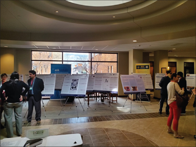 Figure 2: Poster sessions. The main lobby of the Medical Center of Aurora was used to host the poster session